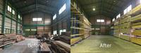190 倉庫の空間を有効活用し、材料の取り出しを容易にするためのラック A社