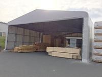216 既存工場内の材料保管(プレカット)用シートハウス  ハイビック(株)大里工場