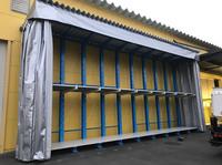 262 屋外で雨さらしになっている原材料を保護する為のラック A社