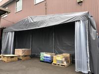 299 倉庫内商品の一時預け場所に仮設伸縮式テント A社